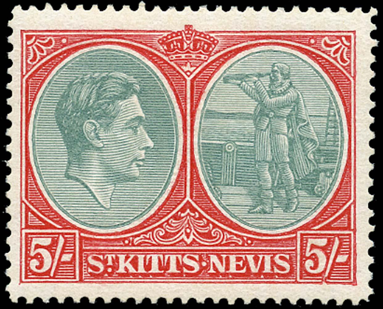 ST KITTS NEVIS 1945  SG77ba Mint 5s ord paper variety Break in value tablet