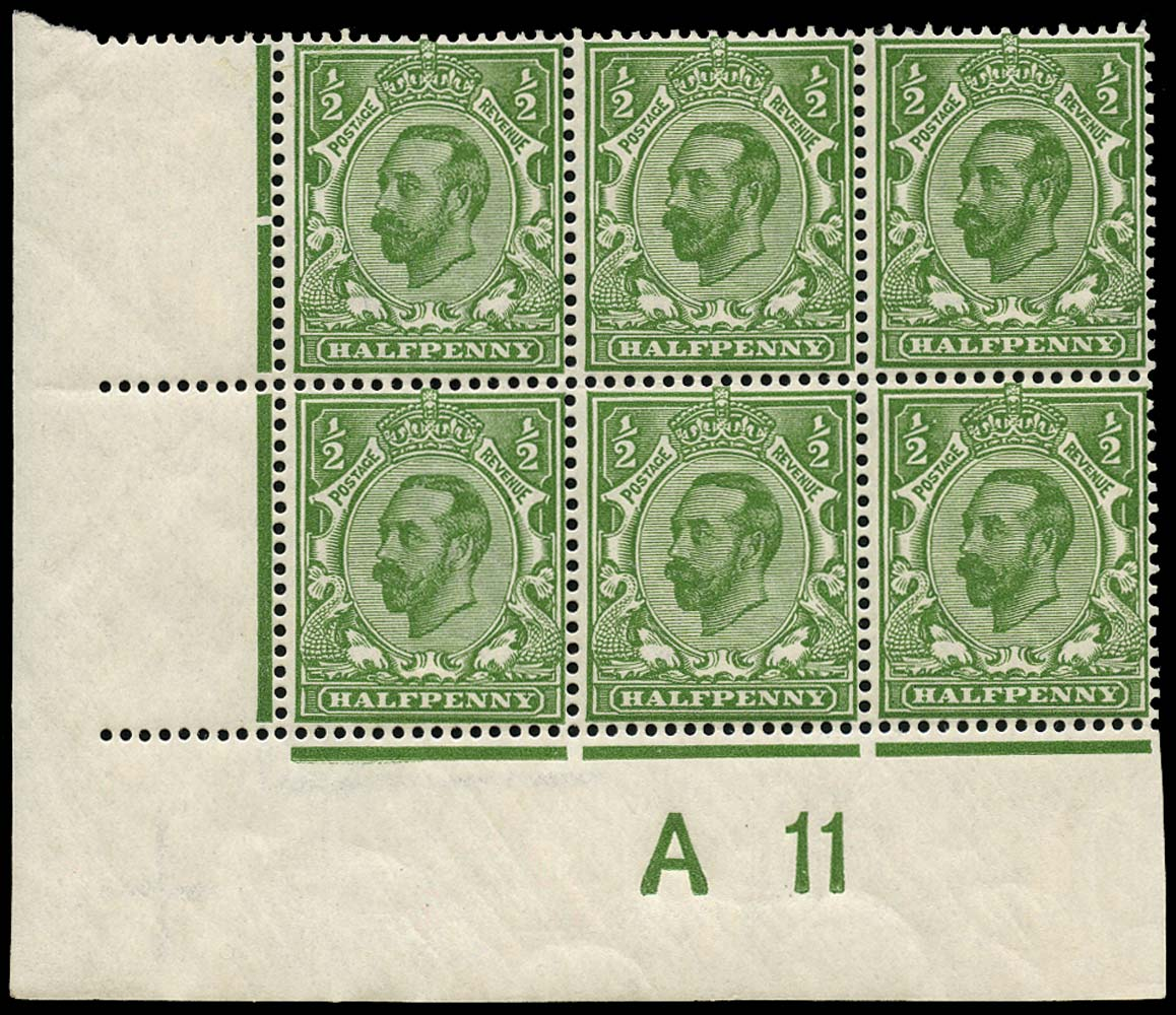 GB 1911  SG325 Mint A11 Control, white spot right of ½d