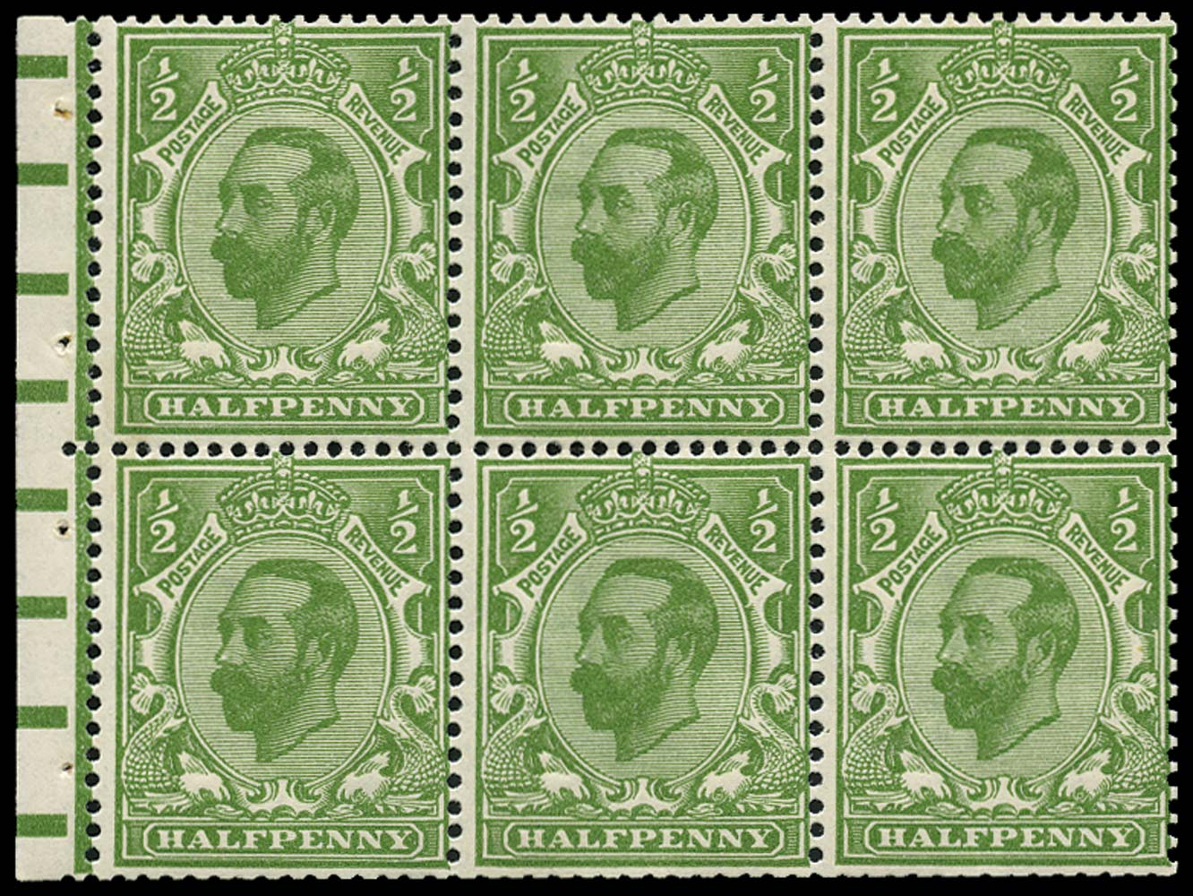 GB 1911  SG324a Booklet pane booklet pane of six