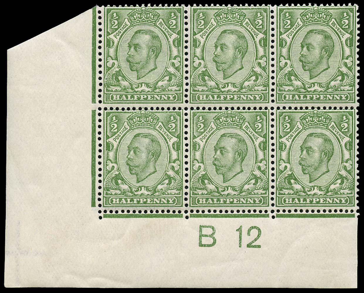 GB 1912  SG339var Mint B12 Control block