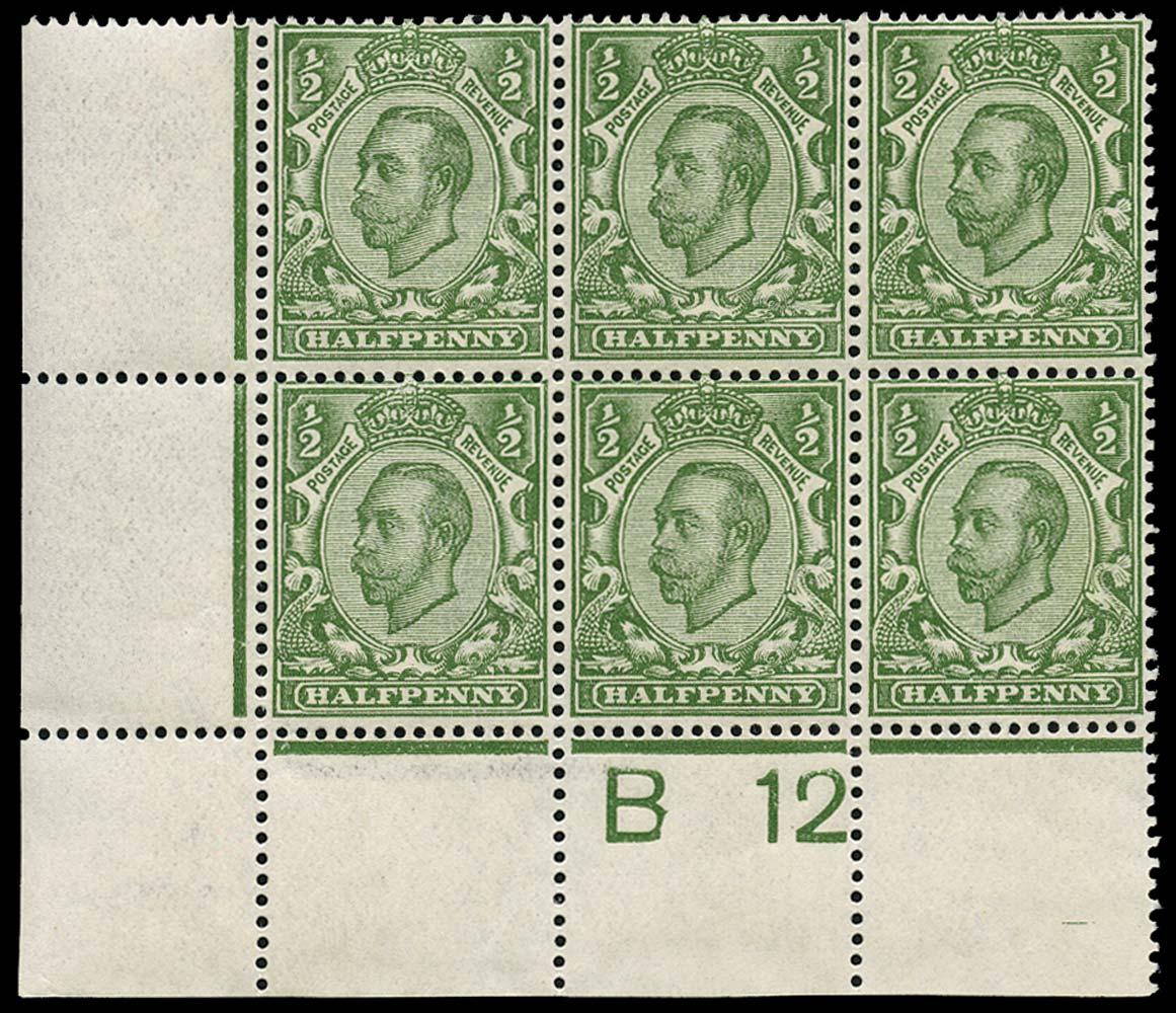 GB 1912  SG340 Mint B12 Control block