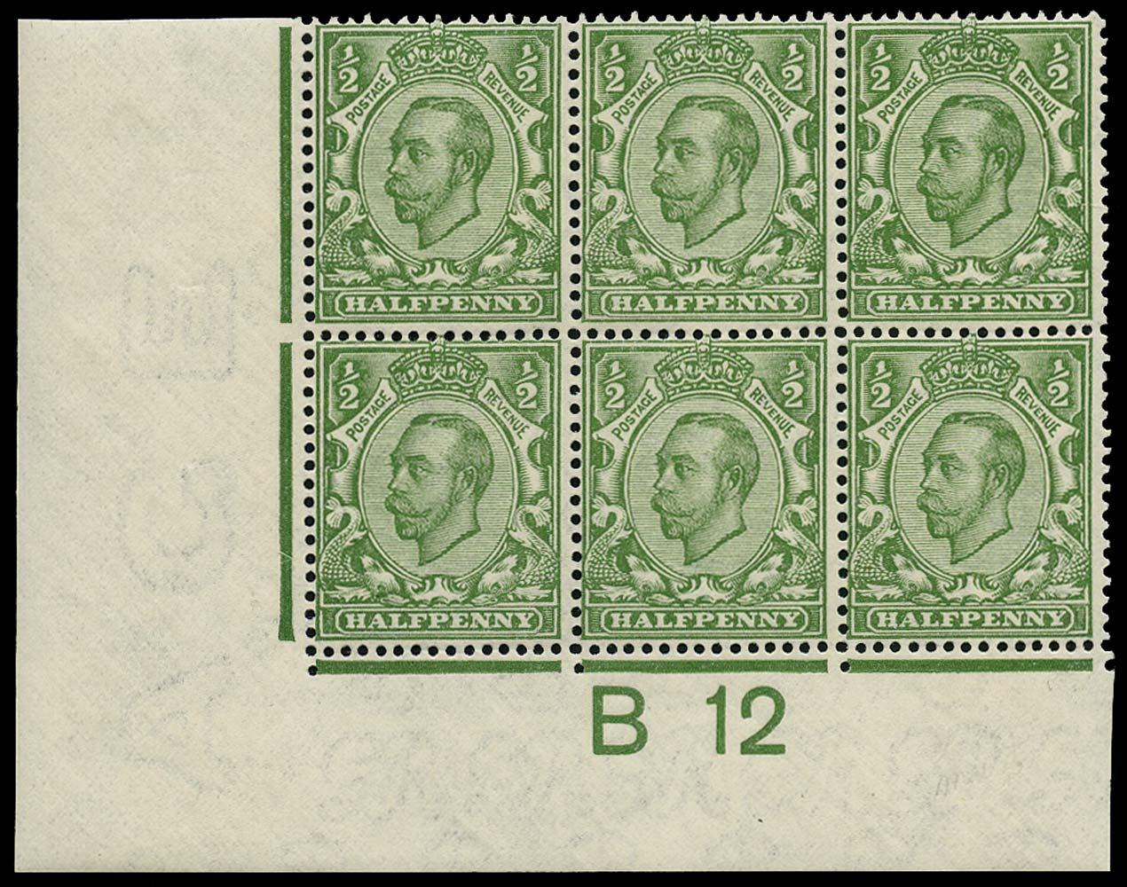 GB 1912  SG346 Mint control block of six