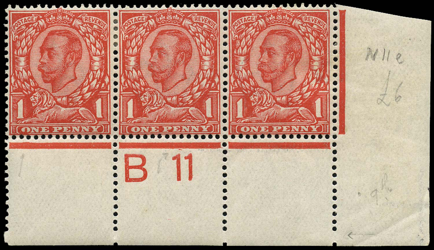 GB 1912  SG342var Mint Control B11 strip & variety