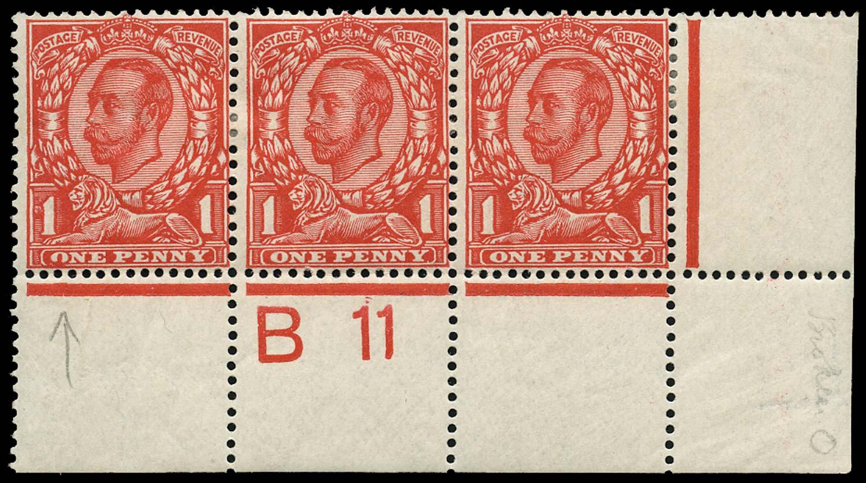 GB 1912  SG342var Mint Control B11 strip & variety