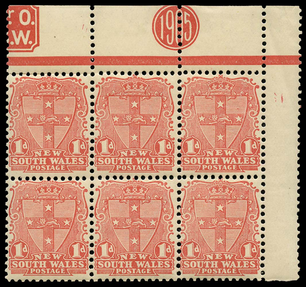 NEW SOUTH WALES 1907  SG354 Mint 1d year plug block