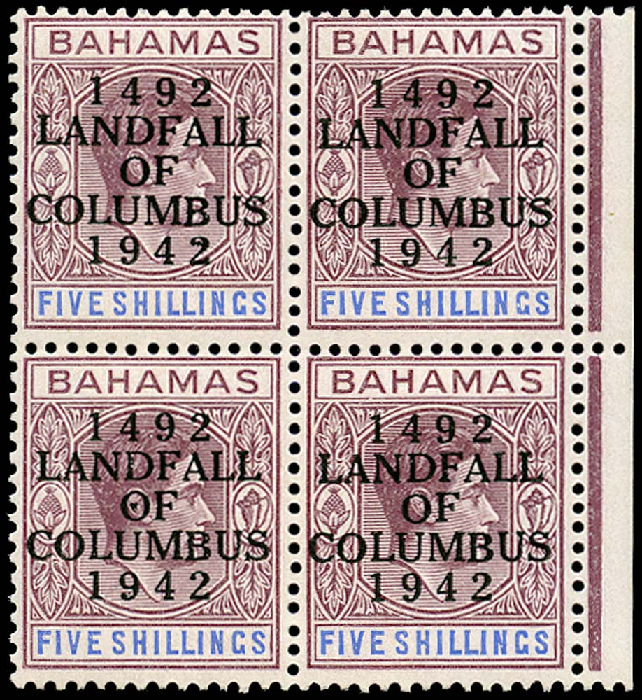 BAHAMAS 1942  SG174a Mint Landfall 5s var Frame break under A unmounted