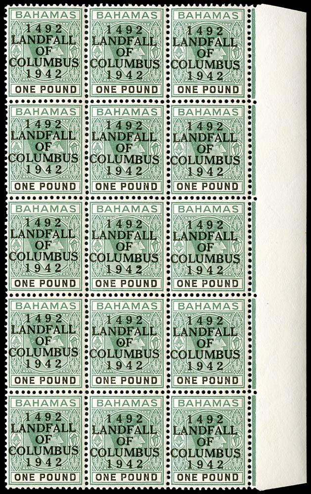 BAHAMAS 1942  SG175a Mint Landfall £1 ordinary paper block of 15 unmounted