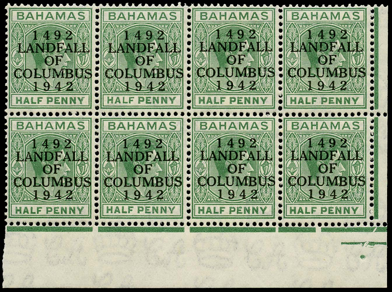 BAHAMAS 1942  SG162a Mint Landfall ½d bluish green Elongated E unmounted