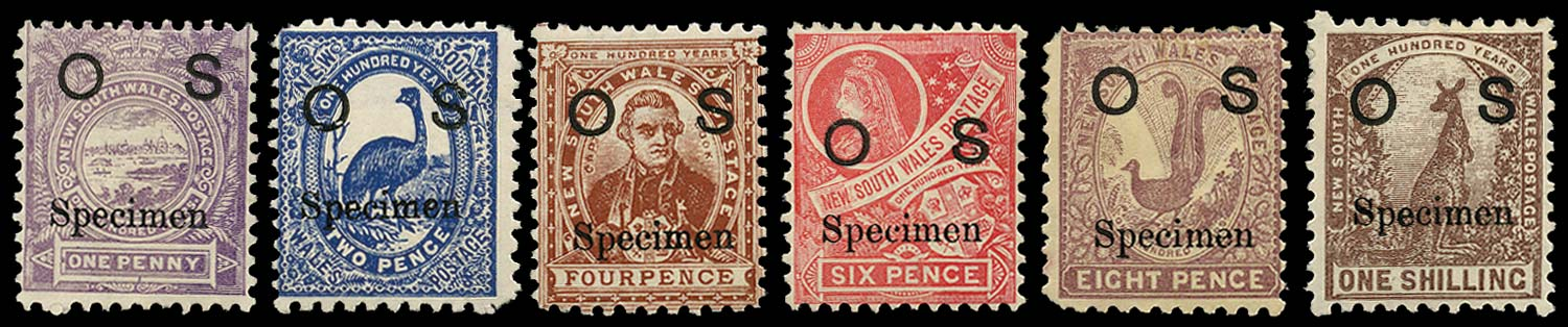 NEW SOUTH WALES 1888  SGO39s/44s Specimen