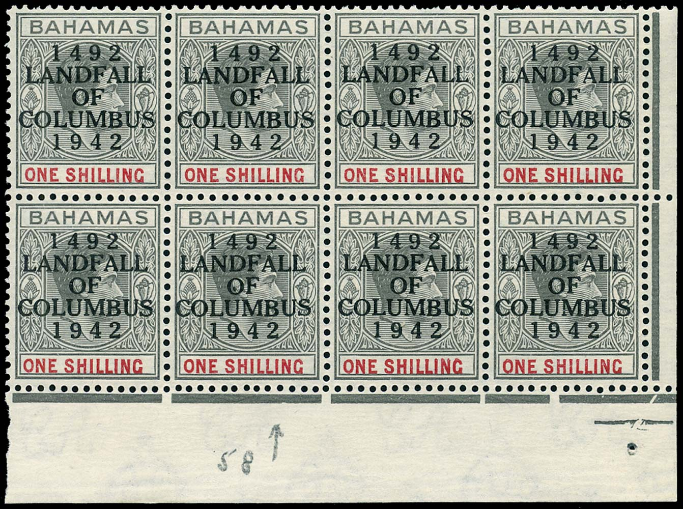 BAHAMAS 1942  SG171 Mint Landfall of Columbus 1s variety Dot in O