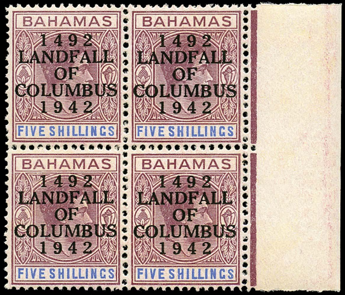 BAHAMAS 1942  SG174a var Mint Landfall 5s var Clipped '2' of '1942' unmounted