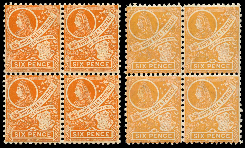 NEW SOUTH WALES 1905  SG342, 343 Mint 6d dp orange, 6d orange-buff