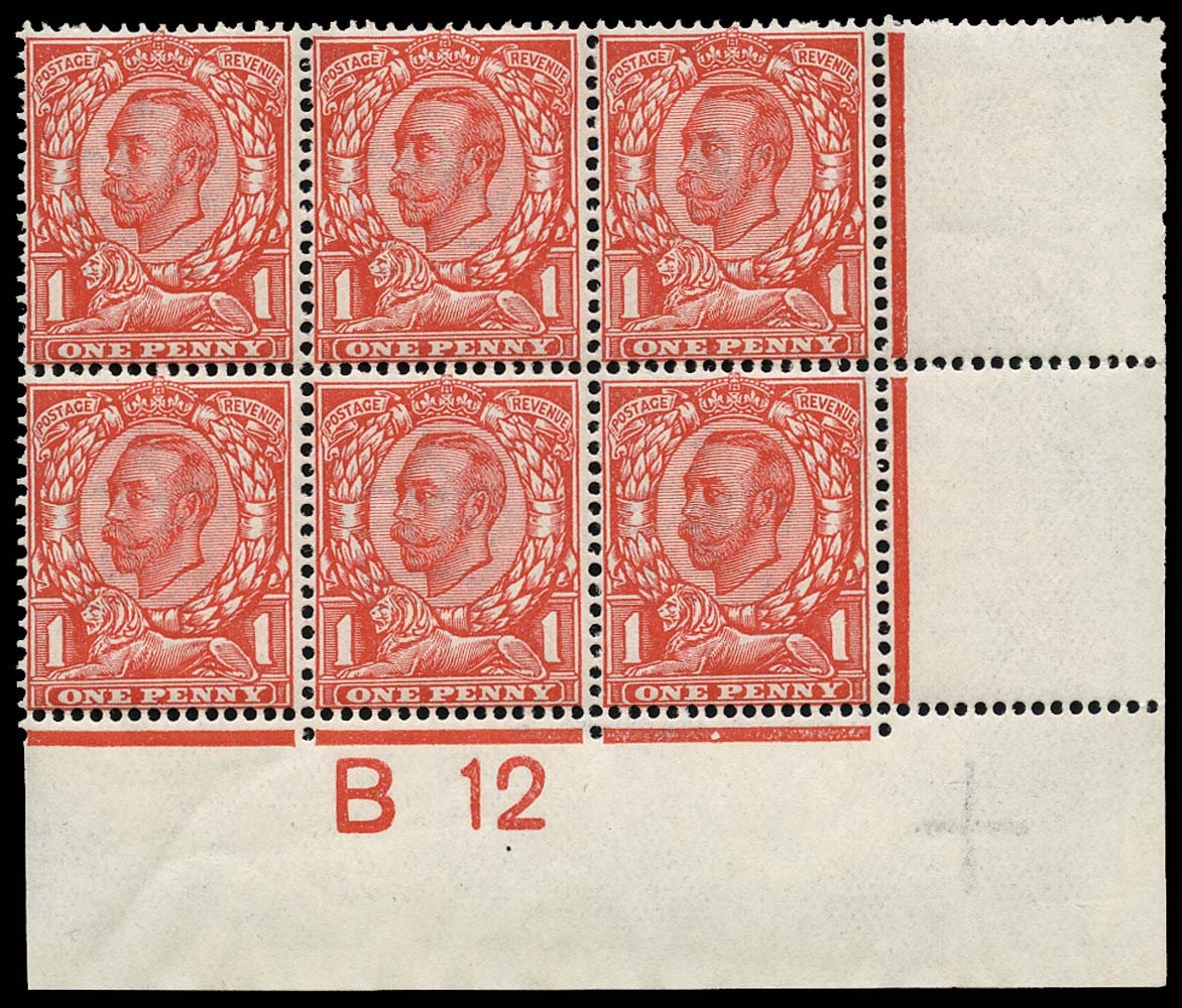 GB 1912  SG342 Mint Control B12(C) block