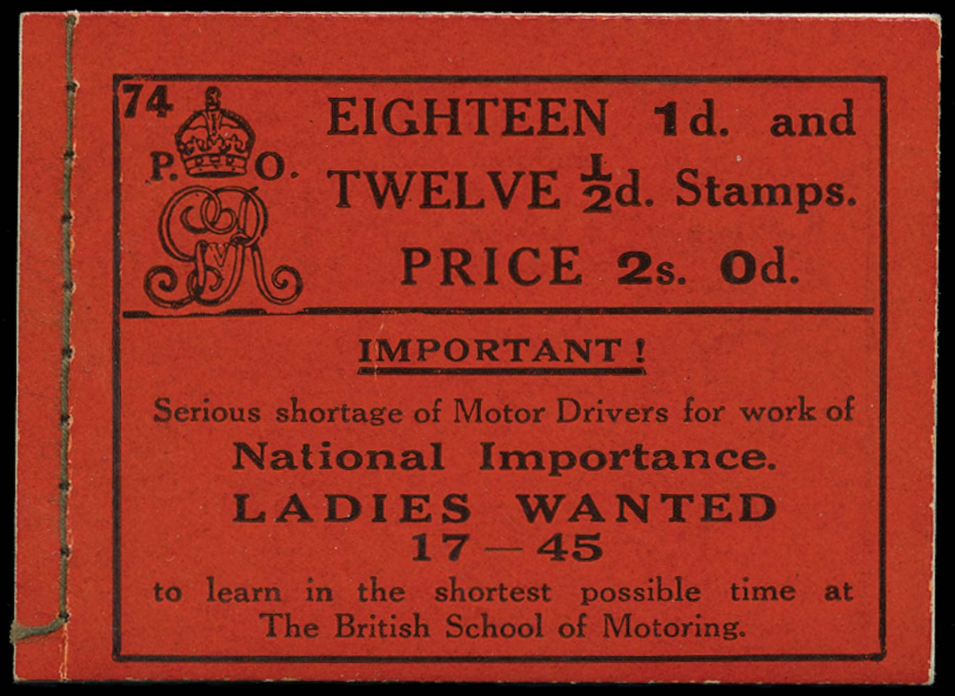 GB 1917  SGBB10 Booklet (Edition 74)