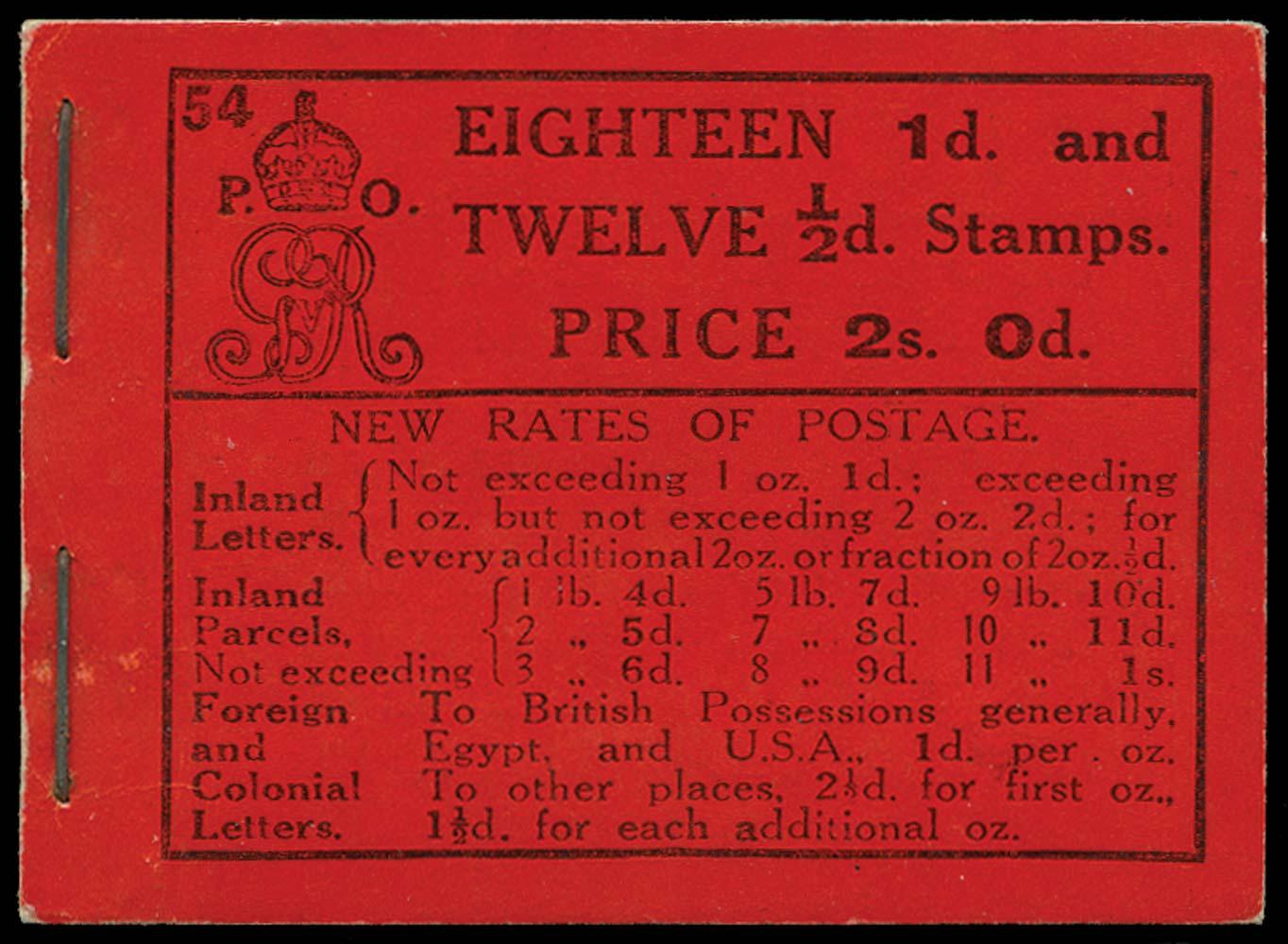 GB 1916  SGBB9 Booklet (Edition 54)