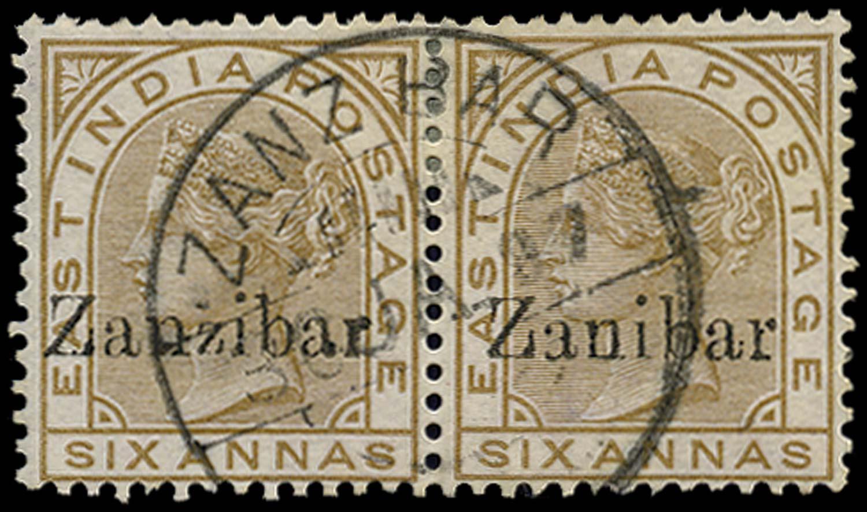 ZANZIBAR 1895  SG13D/k Used 6a error Zanibar