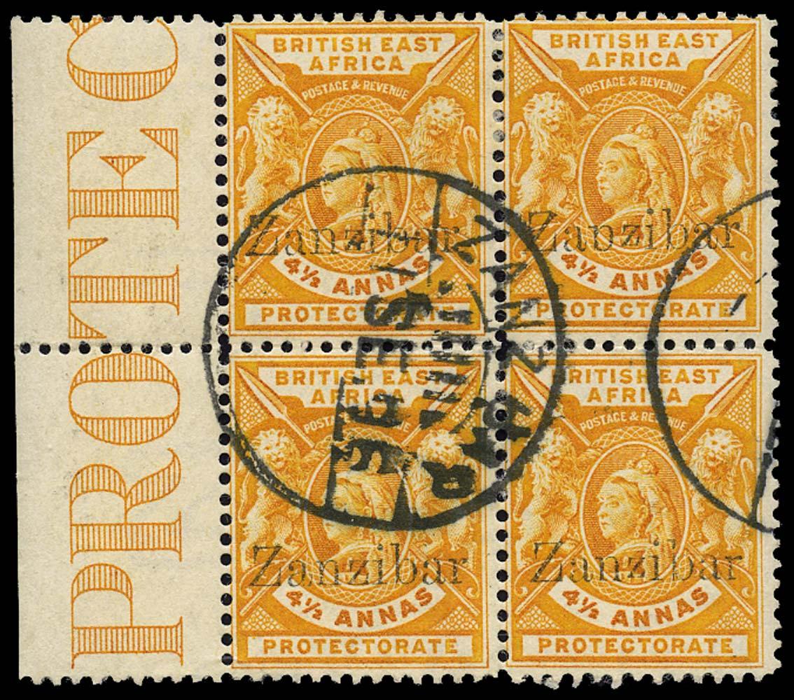 ZANZIBAR 1896  SG44/B/D/var Used 4½ Broken p for n