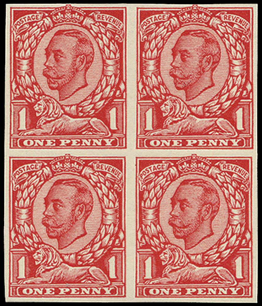GB 1912  SG341var Trial special finish very thin paper plate glazed on face only