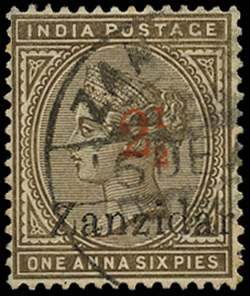 ZANZIBAR 1895  SG22j Used 2½ on 1a6p error Zanzidar