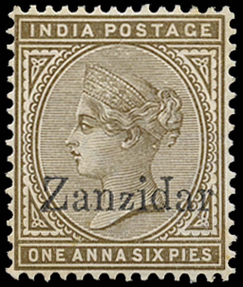 ZANZIBAR 1895  SG5j Mint 1a6p error Zanzidar
