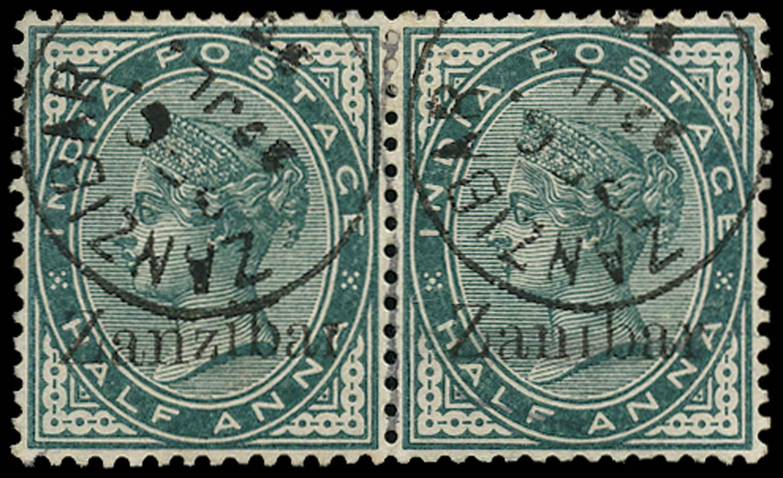 ZANZIBAR 1895  SG3D/k Used ½a error Zanibar