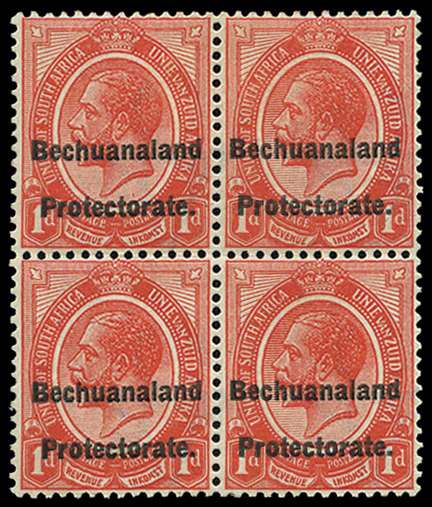 BECHUANALAND 1921  SGF3a Postal Fiscal 1d overprint double, one albino