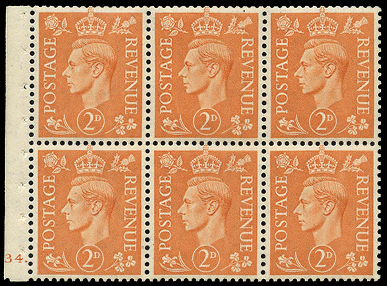 GB 1942  SG488e Booklet pane - Cylinder H34. (dot)