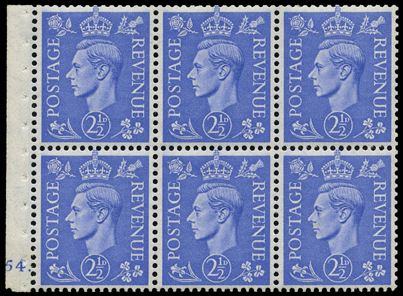 GB 1942  SG489f Booklet pane - Cylinder J54. (dot)