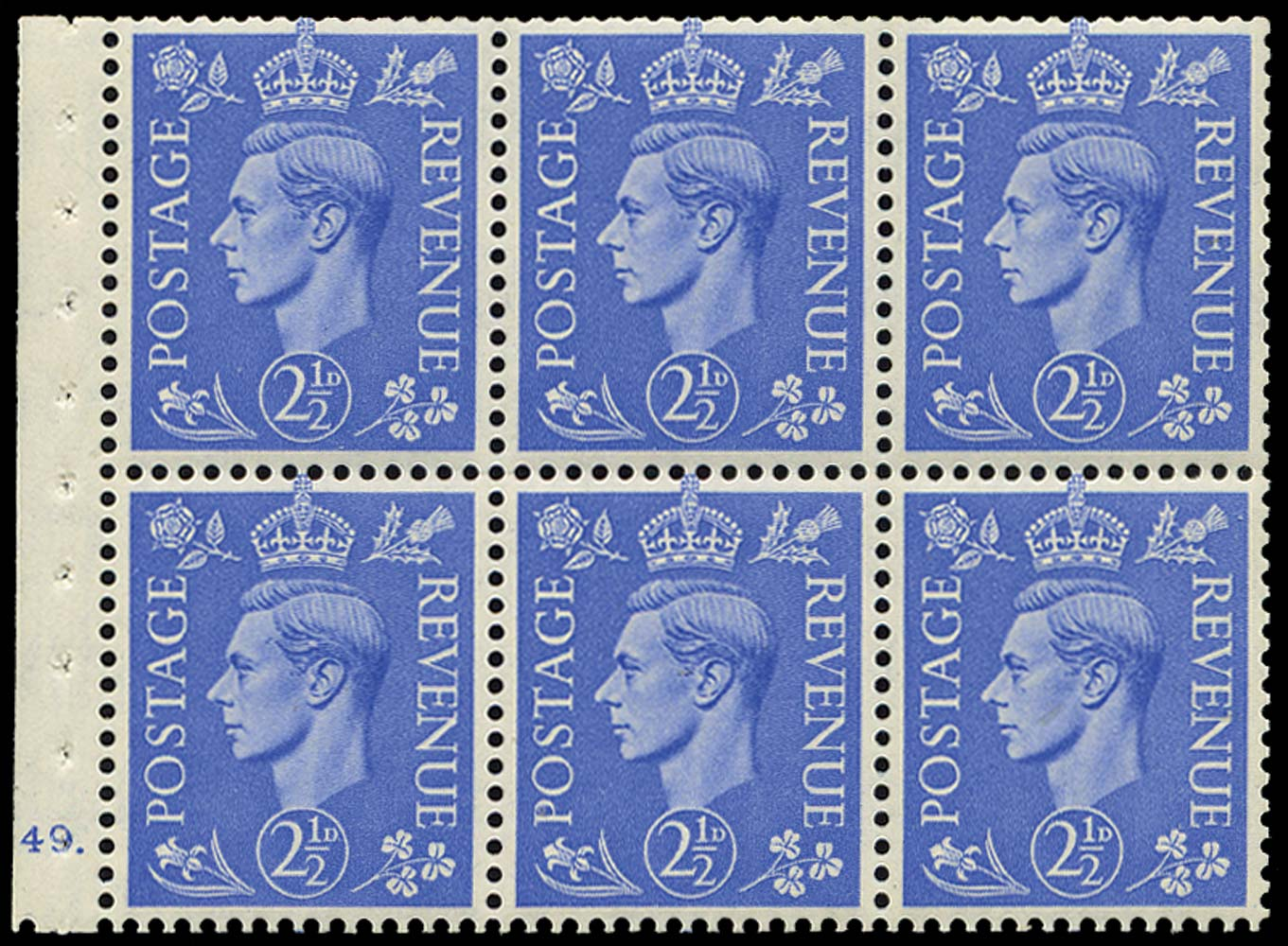 GB 1942  SG489f Booklet pane - Cylinder J49. (dot)