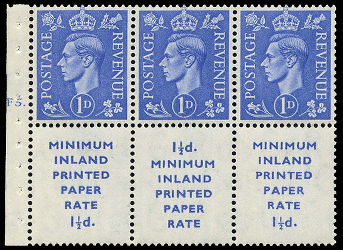 GB 1952  SG504d Booklet pane - Cylinder F5. (dot)