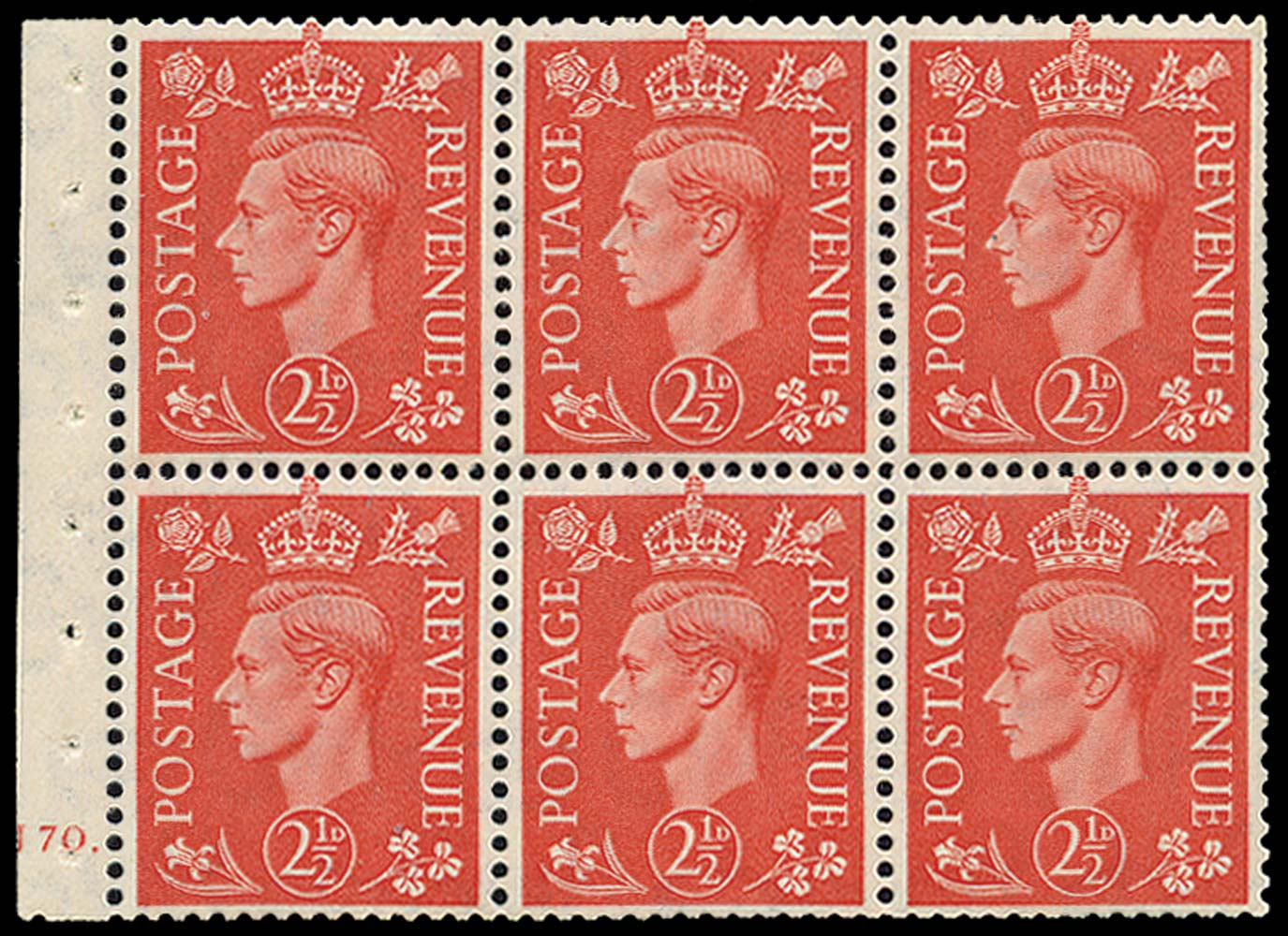 GB 1951  SG507c Booklet pane - Cylinder J70. (dot)