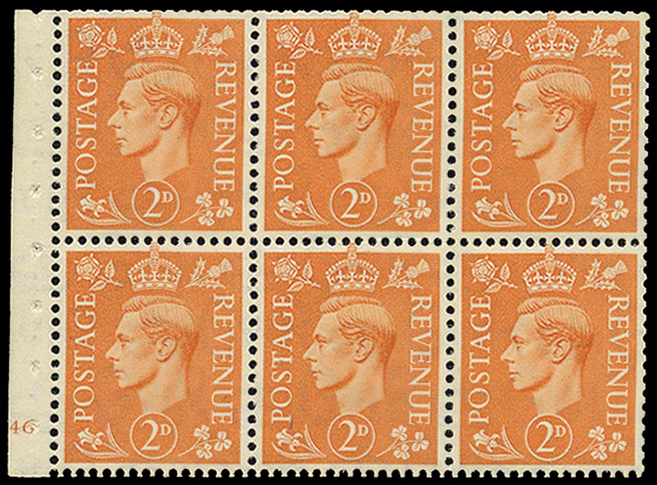 GB 1942  SG488e Booklet pane - Cylinder H46 (no dot)