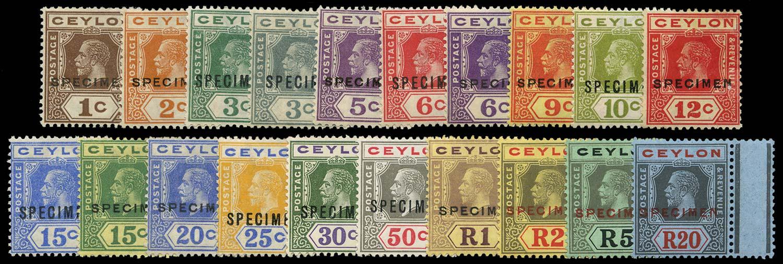 CEYLON 1921  SG338s/57s Specimen