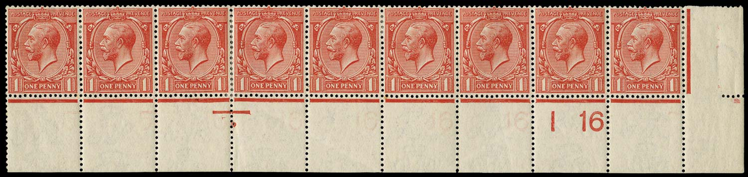 GB 1912  SG357 Mint I16 repeated under each stamp