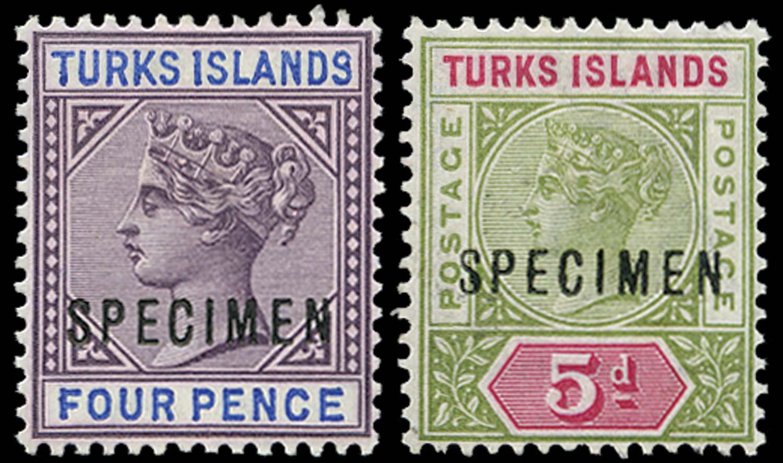 TURKS ISLANDS 1893  SG71s/72s Specimen