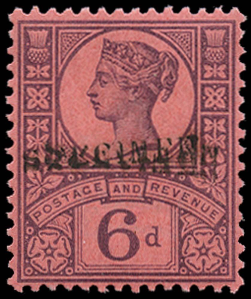 GB 1887  SG208s Specimen - type 9