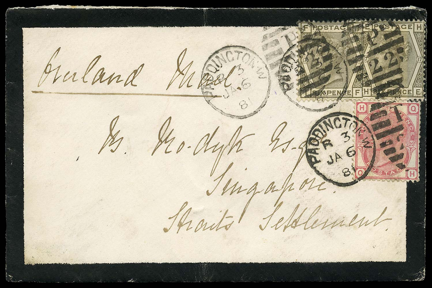 GB 1881  SG147,158 Cover - Earliest recorded use of the 3d (Wmk. Crown)