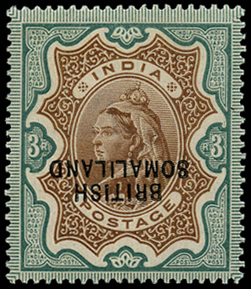 SOMALILAND PROTECT 1903  SG23a Mint QV 3r overprint inverted