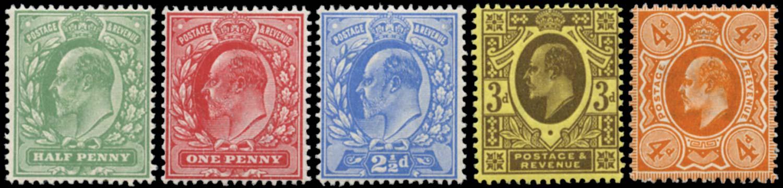 GB 1911  SG279/86 Mint U/M set of five