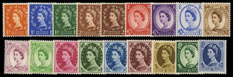GB 1952  SG540/56 Mint U/M set eighteen