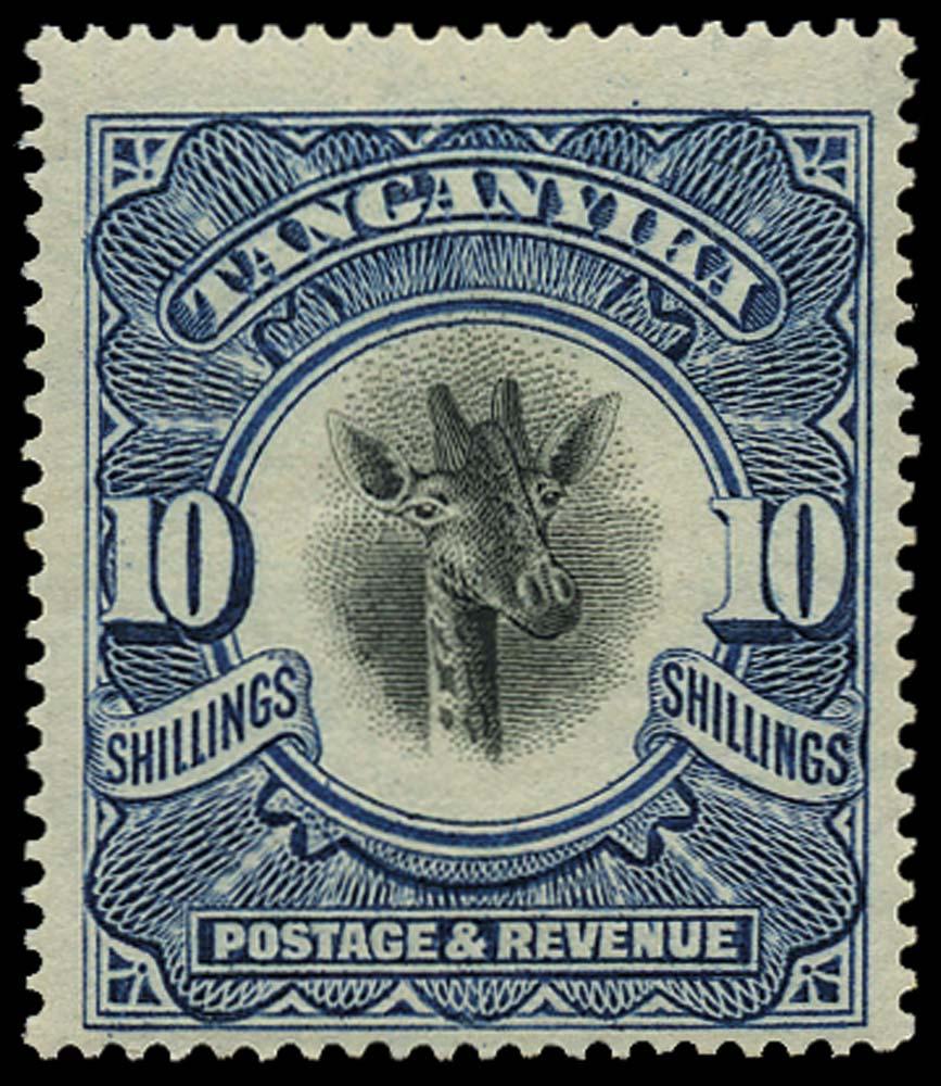 TANGANYIKA 1922  SG87 Mint 10s Giraffe