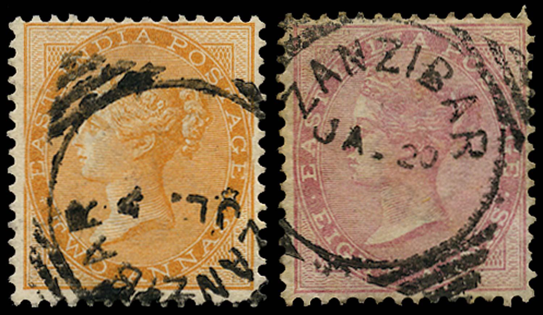 ZANZIBAR 1884  SGZ40, 42 Cancel
