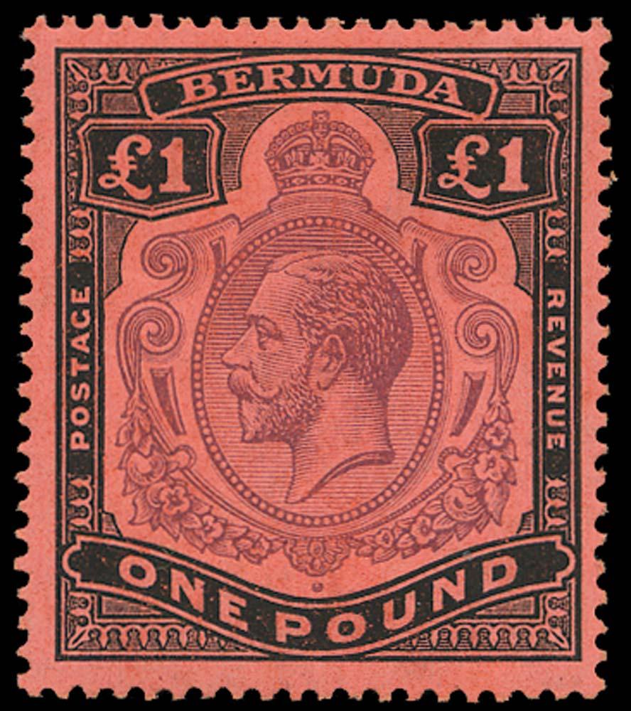 BERMUDA 1918  SG55 Mint £1 head plate flaw 14, state II
