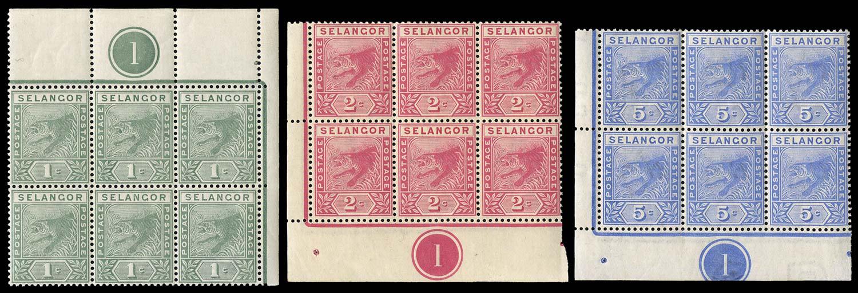 MALAYA - SELANGOR 1891  SG49/50, 52 Mint