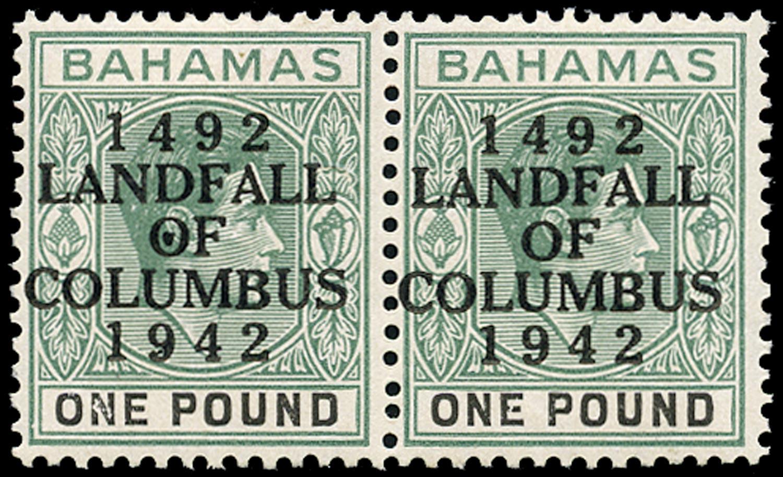 BAHAMAS 1942  SG175a Mint Landfall of Columbus £1 variety Dot in O