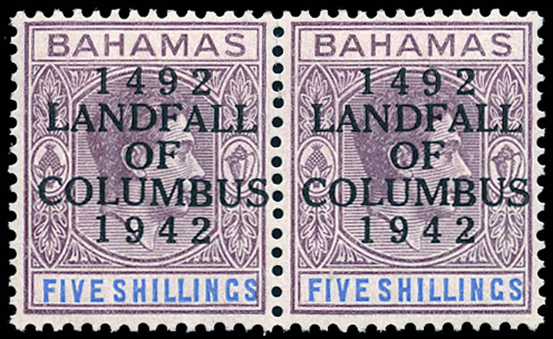 BAHAMAS 1942  SG174a var Mint Landfall of Columbus 5s variety Mark on 2