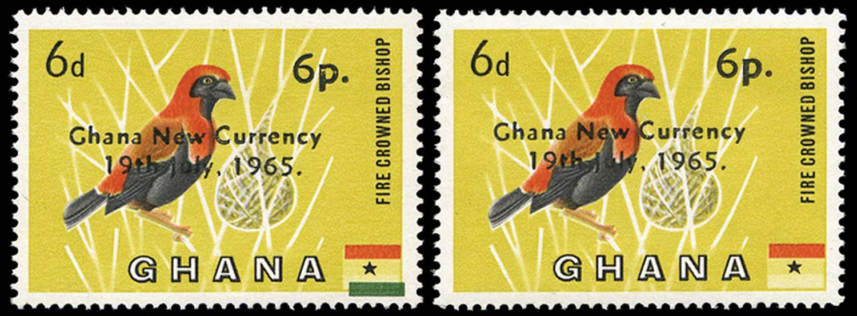 GHANA 1965  SG385d Mint 6p on 6d bird error green omitted