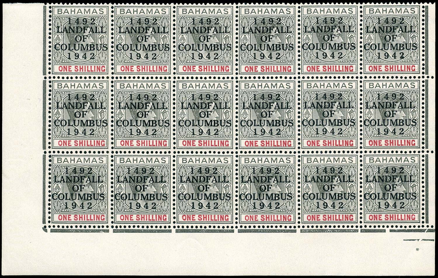 BAHAMAS 1942  SG171b Mint Landfall of Columbus 1s grey-black & bright crimson