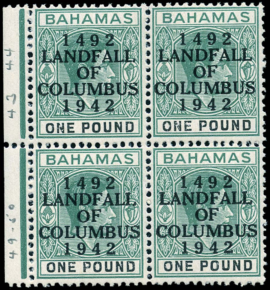 BAHAMAS 1942  SG175a var Mint Landfall of Columbus £1 variety Dash in S