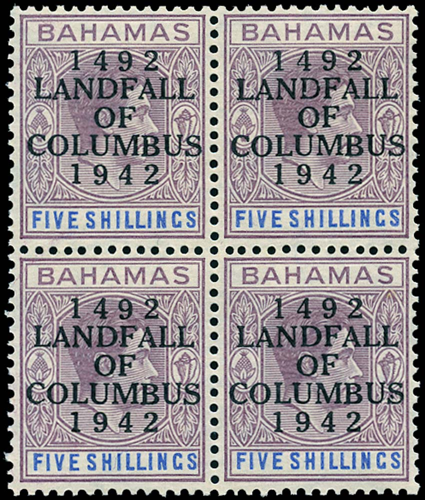 BAHAMAS 1942  SG174 var Mint Landfall of Columbus 5s thin striated paper